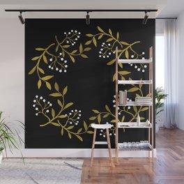 Wreath gold&white Wall Mural