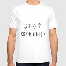 Stay Weird MEDIUM White Mens Fitted Tee
