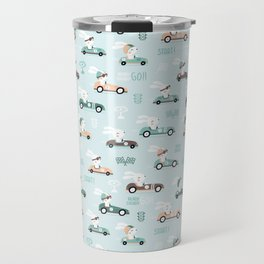 Bunny Race - retro racing pattern Travel Mug