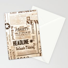 Vintage Newspaper Ads Black and White Typography Stationery Cards