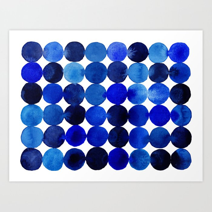 Blue Circles in Watercolor Kunstdrucke