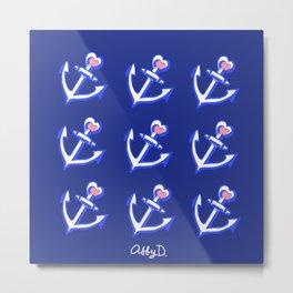 Navy Blue Heart Anchors Pattern Metal Print
