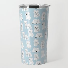 Westies on Light Blue Travel Mug