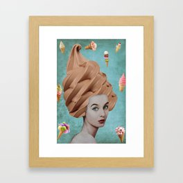 Cone Lady Collage Framed Art Print