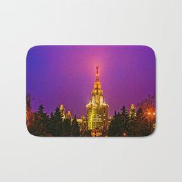 Moscow State University At Misty Winter Night Bath Mat