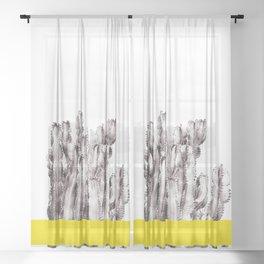 Minimal Succulent Cactus Sheer Curtain
