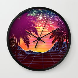 Festival vaporwave landscape with rocks and palms Wall Clock
