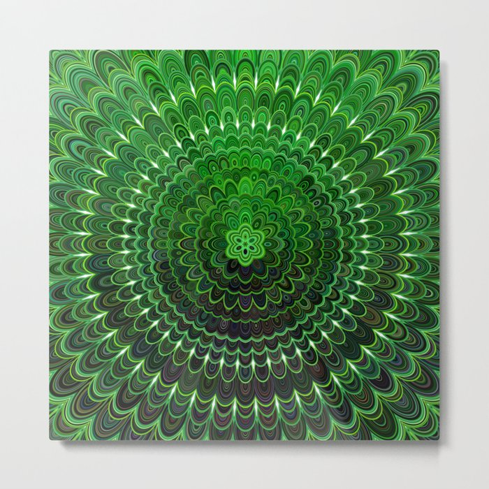 Green Flower Mandala Metal Print