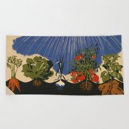 Vintage Vegetable Garden Illustration (1943) Beach Towel