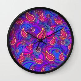 Purple Paisley Pattern Wall Clock