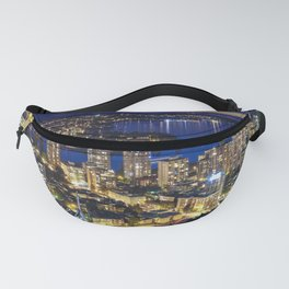 Voyeuristic 1556 Vancouver Cityscape Twilight View English Bay Vancouver Fanny Pack