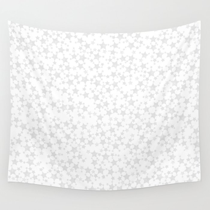 Block Print Silver-Gray and White Stars Pattern Wall Tapestry