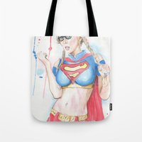 supergirl Tote Bags featuring Supergirl by James Murlin