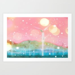 wind turbine in the desert with snow and bokeh light background Art Print