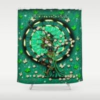 taurus Shower Curtains featuring Taurus by Lady Amethystine