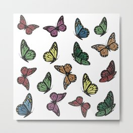 Multi Colored Butterfly Pattern Metal Print