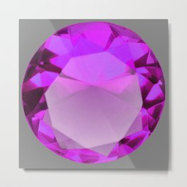 Decorative PURPLE FEBRUARY AMETHYST GEMSTONE  ON GREY Metal Print
