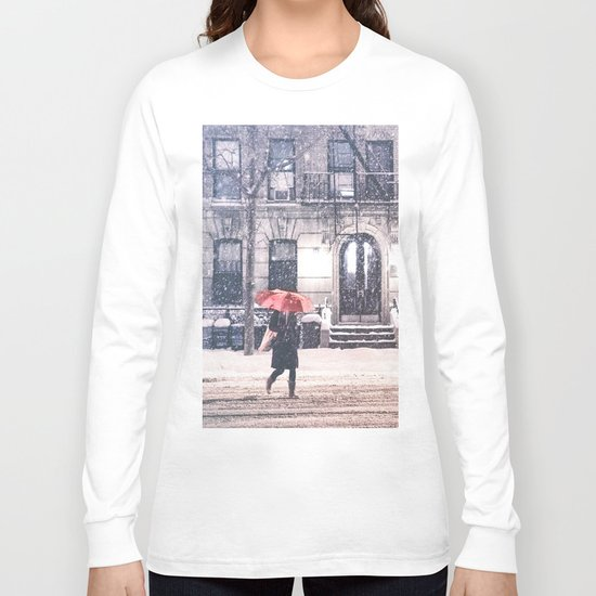 New York City Snow and Red Umbrella Long Sleeve T-shirt
