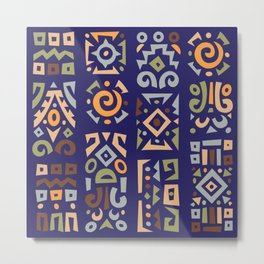 Abstract Colorful African Designs Pattern in Retro Style. Metal Print