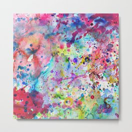 Abstract Bright Watercolor Paint Splatters Pattern Metal Print
