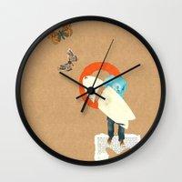 surfer Wall Clocks featuring Surfer by Prints der Nederlanden