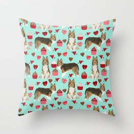 Sheltie shetland sheepdog valentines day love hearts cupcakes dog gifts puppies pet friendly art Throw Pillow