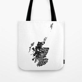 Typographic Scotland European map art Tote Bag