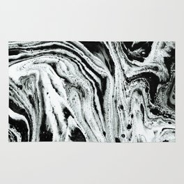 marble black and white minimal suminagashi japanese spilled ink abstract art Rug