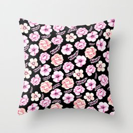 Watercolor coral pink black tropical floral Throw Pillow