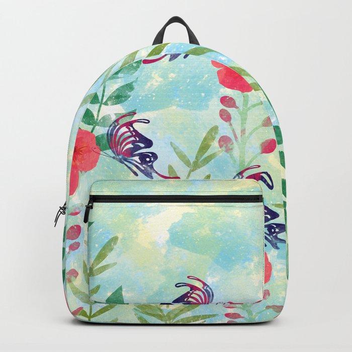 Watercolor floral garden Backpack