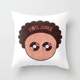 Vinyl records junkie music lover  Throw Pillow