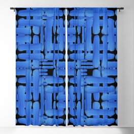 Double Blue Brush Strokes On Black Blackout Curtain