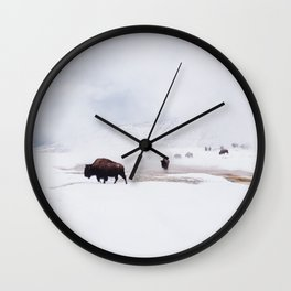 Wild Bison in Winter Wall Clock