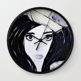 Girl with Black Hair and Hat. Blue Eyes Hand Painted by Jodi Tomer Wall Clock