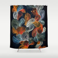 friday Shower Curtains featuring Friday Night by Marcelo Romero