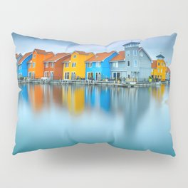 Blue Morning at Waters Edge Groningen Netherlands Europe Coastal Landscape Photograph Pillow Sham
