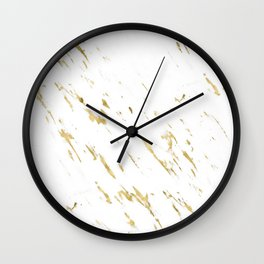 Gold White Marble - Trendy Yellow Gold Marble Wall Clock