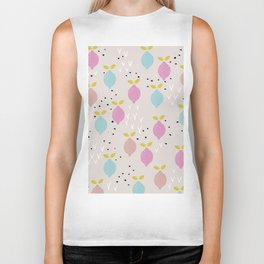 Botanical fruit garden teal winter lemons pop pattern Biker Tank