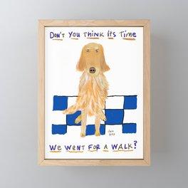 Golden Retriever Wants A Walk Framed Mini Art Print