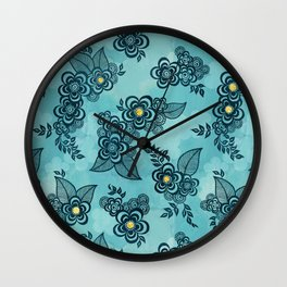 Henna Tattoo Peacock in Turquoise Wall Clock