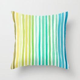 Blue Green Watercolor Stripes  Throw Pillow