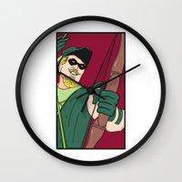 green arrow Wall Clocks featuring Green Arrow by Chelsea Herrick