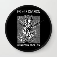 joy division Wall Clocks featuring Fringe Division by Ant Atomic