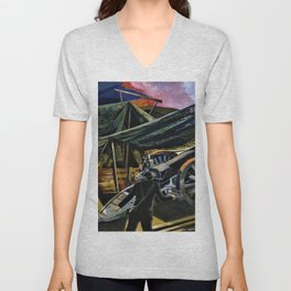 Paul Nash - A Howitzer Firing - Digital Remastered Edition Unisex V-Neck