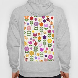 Scandinavian Style Colorful Flowers Pattern Hoody