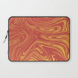 Red marble pattern with golden tint Laptop Sleeve