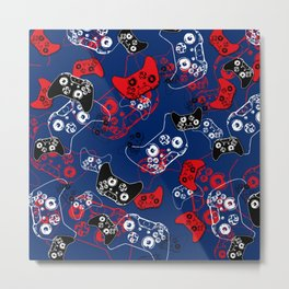 Video Game Red White & Blue 1 Metal Print