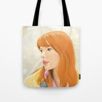 lost in translation Tote Bags featuring Lost In Translation - Charlotte by Tanita