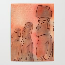 Moai statues watercolor Poster