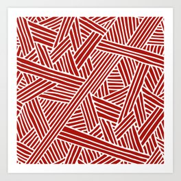 Abstract Navy Red & White Lines and Triangles Pattern Art Print